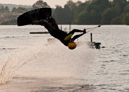 Wakeboard lady getting air