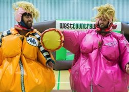 West Country Games Stag party dressed in Sumo suits