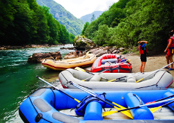 White Water Rafts parked