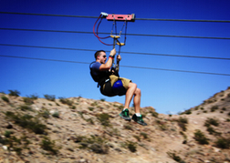 Man Zipwiring Las Vegas on a stag do