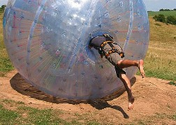 Zorbing getting into the entrance