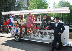Beer Bike Amsterdam with a stag party in fancy dress