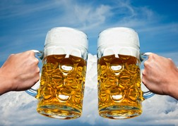 "2 steins of Beers ""Cheers"""