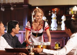 Beer Waitress with Stag Party