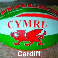 Rugby Ball with the Welsh Dragon and Cymru on it