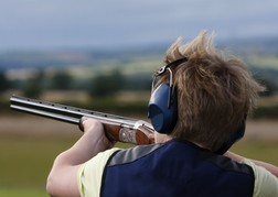 stag party taking part in Clay Pigeon Shooting