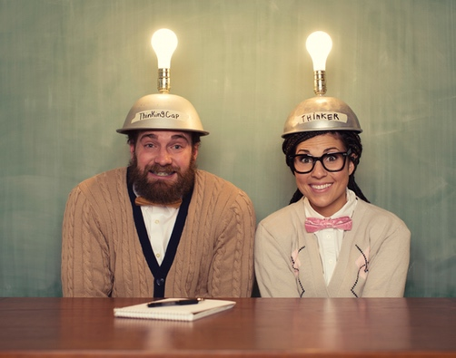Funny picture of a couple with their home made thinking caps on