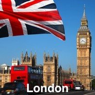 Big Ben, Union Jack and Red double decker bus