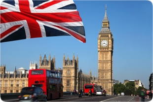 London Big Ben, London Bus and Union Jack