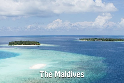 A picture of a couple of islands in the Maldives