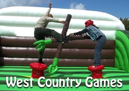 2 members of a stag party doing West Country Games