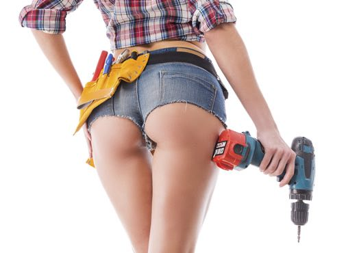 Picture of a lovely lady holding a drill