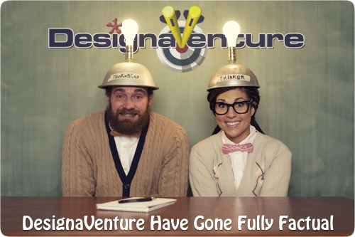 2 people sitting at a desk behind the DesignaVenture sign with thinking caps on