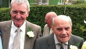 Picture of the Groom and the oldest best man in the world