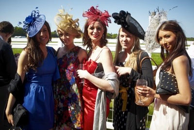 A hen party dressed up at Ascot Racecourse