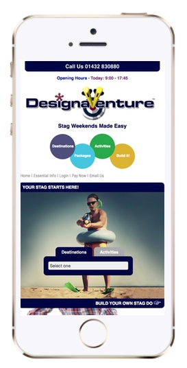 Picture of DesignaVenture's new website on a mobile phone