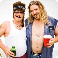 two guys from a stag party in fancy dress