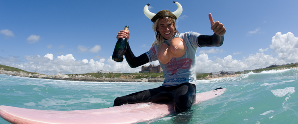Stag Sat On Surf Board In The Sea