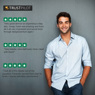 DesignaVenture Trustpilot reviews with man leant up against the wall