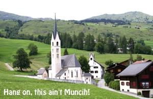 Switzerland landscape mountains & church