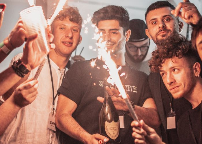 stag party with indoor fireworks and champagne