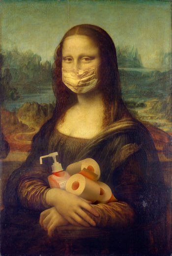 Mona Lisa with mask tiolet rolls hand sanitiser